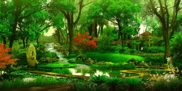 Rabit Painting - Forest Landscape by MJ Arts Collection