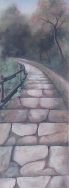Wall Art - Painting - Forest Stairway Down by Suzn Smith