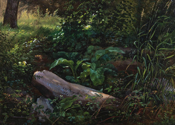 Garten Wall Art - Painting - Forest Study From Grosser Garten In Dresden by Johan Christian Dahl