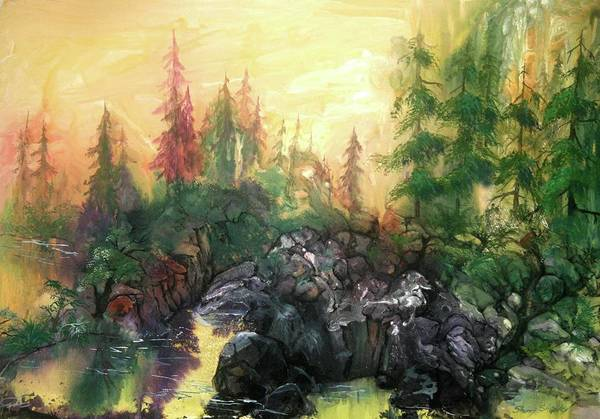 Painting - Forest Sunrise by Sherry Shipley