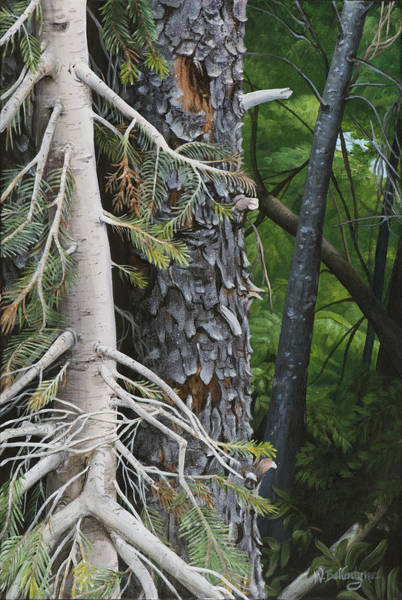 Bark Wall Art - Painting - Forest Textures by Wendy Ballentyne
