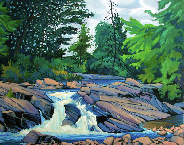 Wall Art - Painting - Forest Waterfall Algoma by Paul Gauthier