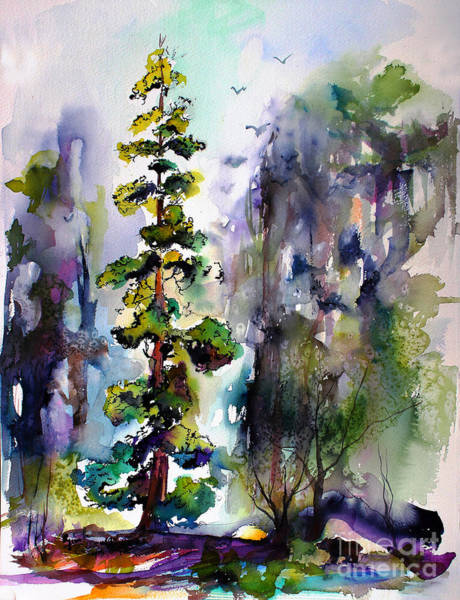 Painting - Forest With Redwood Trees by Ginette Callaway