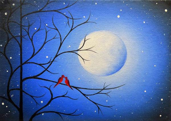 Red Moon Painting - Forever After by Rachel Bingaman