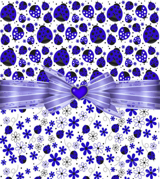 Digital Art - Forever Blue Ladybugs by Debra Miller