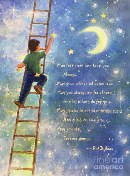 Wall Art - Painting - Forever Young Ladder To The Stars by Vickie Wade