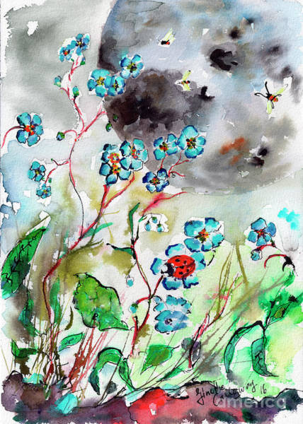 Painting - Forget Me Not And Super Moon Watercolor by Ginette Callaway