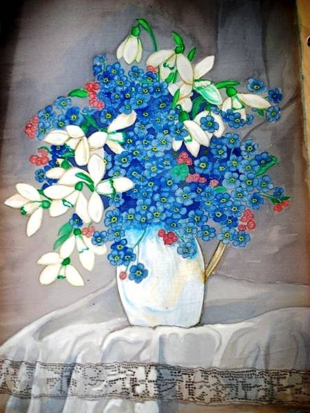 Snowdrop Painting - Forget Me Not by Anica Vangelova