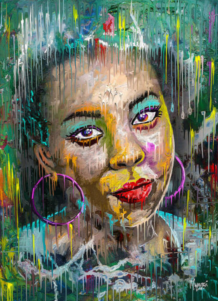 Wall Art - Painting - Forget-me-not Eyes by Anthony Mwangi
