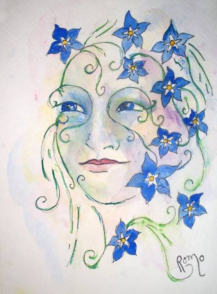 Romo Painting - Forget Me Not by Robin Monroe