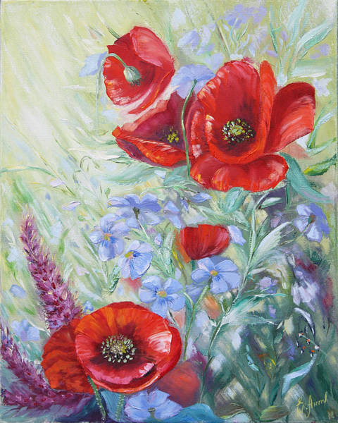 Painting - Forget-me-not With Red Poppies by Elena Antakova
