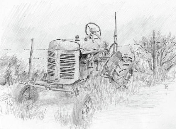 Drawing - Forgotten Farmall Graphite by David King
