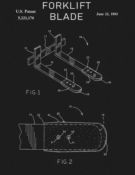Wall Art - Drawing - Forklift Blade Patent by Dan Sproul