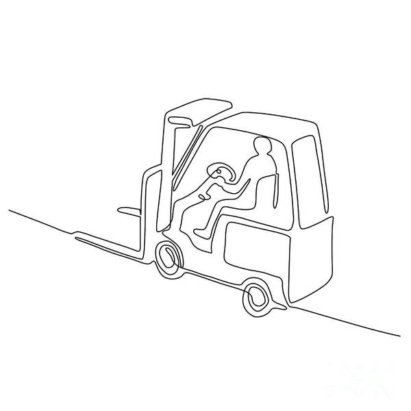 Wall Art - Digital Art - Forklift Truck Continuous Line by Aloysius Patrimonio