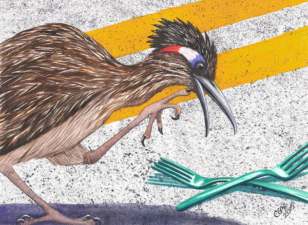 Roadrunner Painting - Forks In The Road by Catherine G McElroy