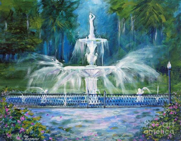 Savannah Painting - Forsyth Fountain In Savannah by Doris Blessington