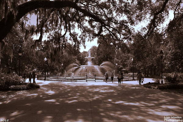 Photograph - Forsyth Park Sepia by Lisa Wooten