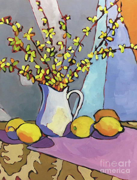 Forsythia And Lemons Art Print by Catherine Martzloff