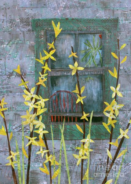 Sparrow Mixed Media - Forsythia by Janyce Boynton