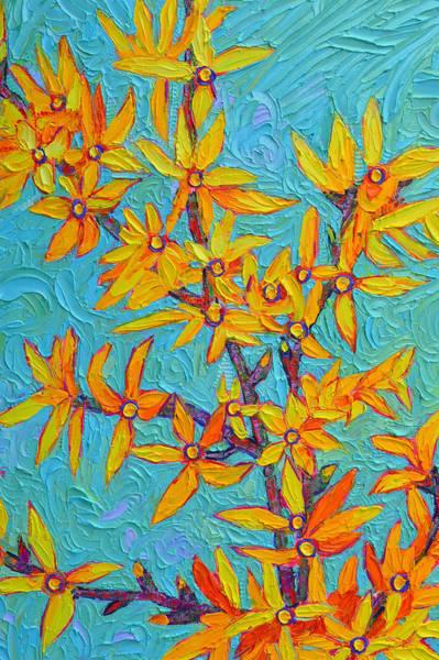 Forsythia Painting - Forsythia Magic Modern Impressionist Flowers Impasto Palette Knife Oil Painting Ana Maria Edulescu by Ana Maria Edulescu