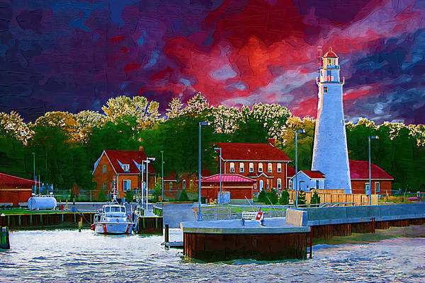 Great Lakes Digital Art - Fort Gratiot Lighthouse by Paul Bartoszek