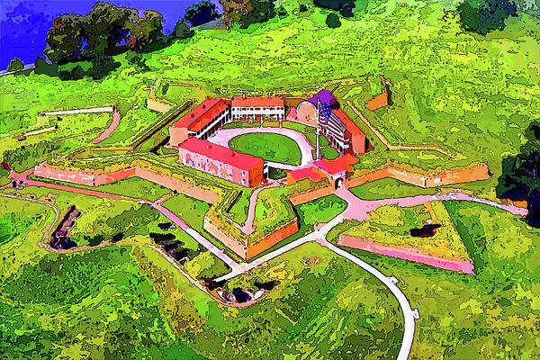 Photograph - Fort Mchenry Aerial View Stylized by Bill Swartwout Photography
