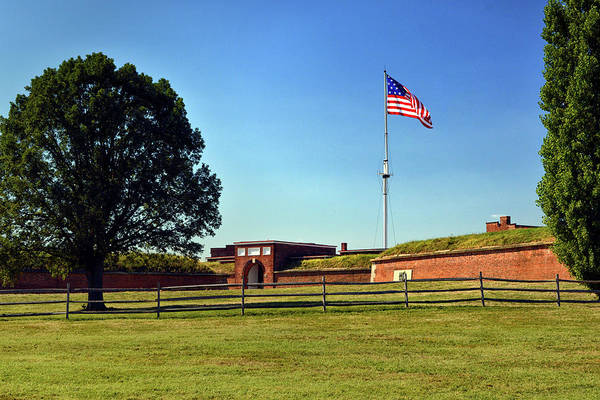 Photograph - Fort Mchenry Entrance Gate And Flag by Bill Swartwout Photography