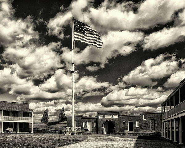 Photograph - Fort Mchenry Parade Ground And Storm Flag In Black And White by Bill Swartwout Photography