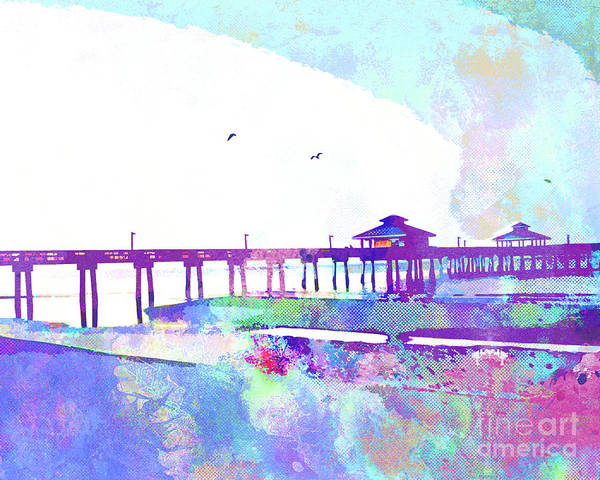 White Cloud Mixed Media - Fort Myers Beach Pier by Chris Andruskiewicz