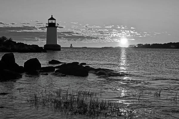 Pickering Photograph - Fort Pickering Lighthouse Winter Island Salem Ma Sunrise Black And White by Toby McGuire