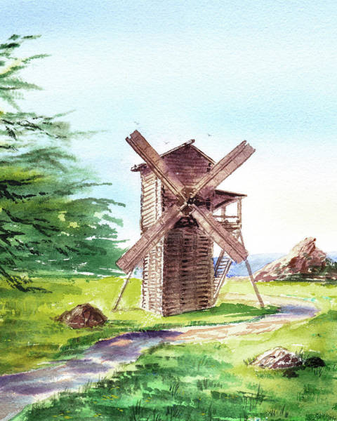 Wall Art - Painting - Fort Ross Windmill  by Irina Sztukowski