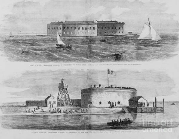 Photograph - Fort Sumter And Castle Pinckney  by Dale Powell