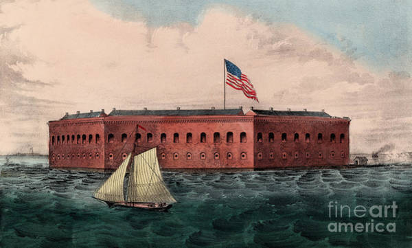 Currier And Ives Painting - Fort Sumter, Charleston Harbor, South Carolina by Currier and Ives