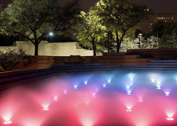 Photograph - Fort Wort Water Gardens Red Blue 040916 by Rospotte Photography