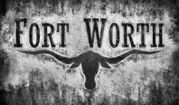 Wall Art - Digital Art - Fort Worth City Flag Black And White by JC Findley