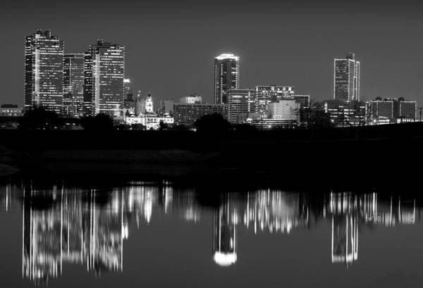 Photograph - Fort Worth Reflection Bw 041916 by Rospotte Photography