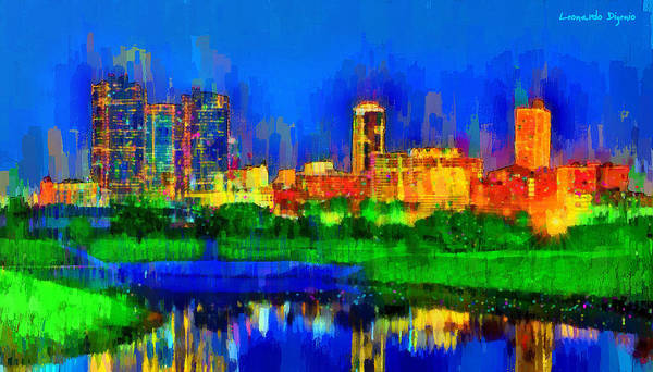 Central Texas Painting - Fort Worth Skyline 100 - Pa by Leonardo Digenio