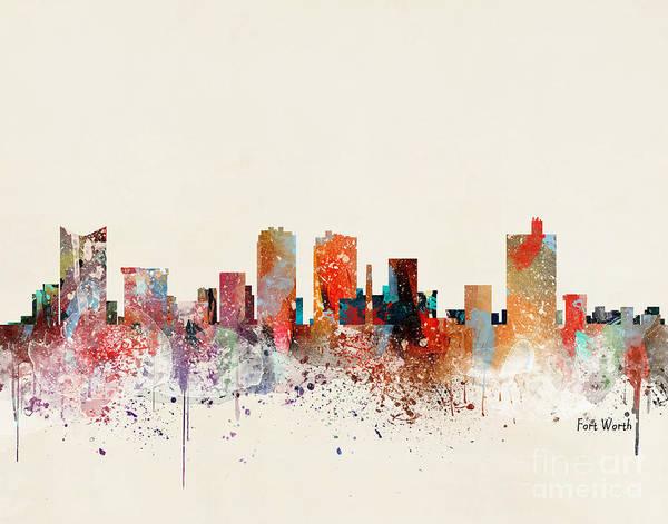 Wall Art - Painting - Fort Worth Skyline by Bri Buckley