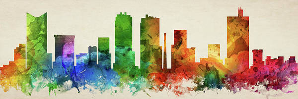 Fort Worth Digital Art - Fort Worth Skyline Panorama Ustxfw-pa03 by Aged Pixel