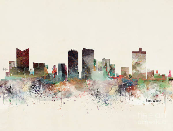 Wall Art - Painting - Fort Worth Texas Skyline by Bri Buckley