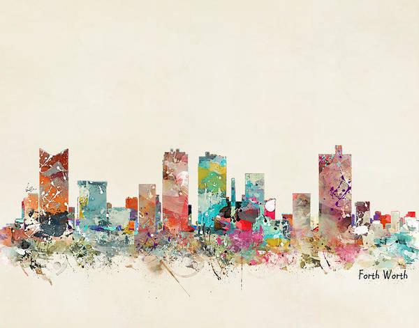 Throws Painting - Fort Worth Texas Skyline by Bri Buckley