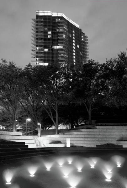 Photograph - Fort Worth Water Gardens Monochrome 040918 by Rospotte Photography
