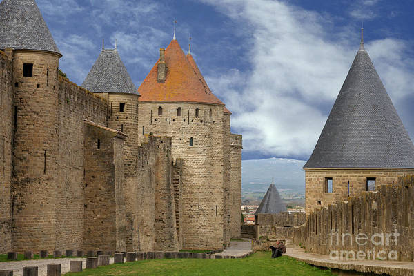 Photograph - Fortress Wall Of Carcassonne by Heiko Koehrer-Wagner