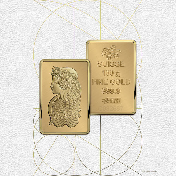 Digital Art - Fortuna Suisse Minted Gold Bar - Obverse And Reverse Over White Leather by Serge Averbukh