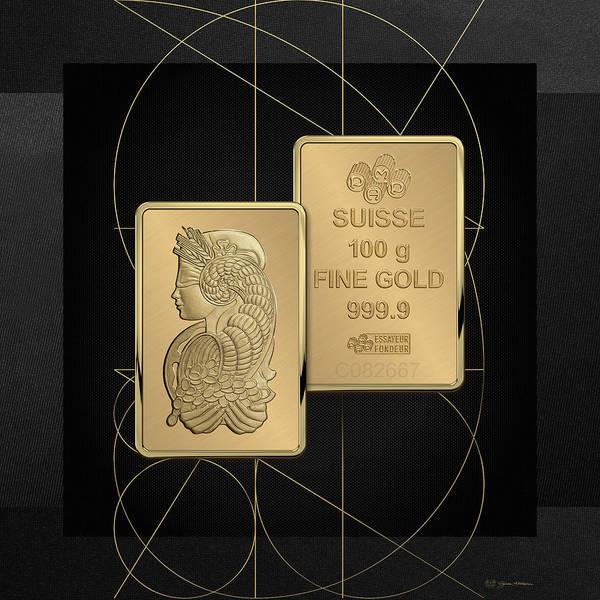 Digital Art - Fortuna Suisse Minted Gold Bar - Obverse, Over Black Canvas by Serge Averbukh