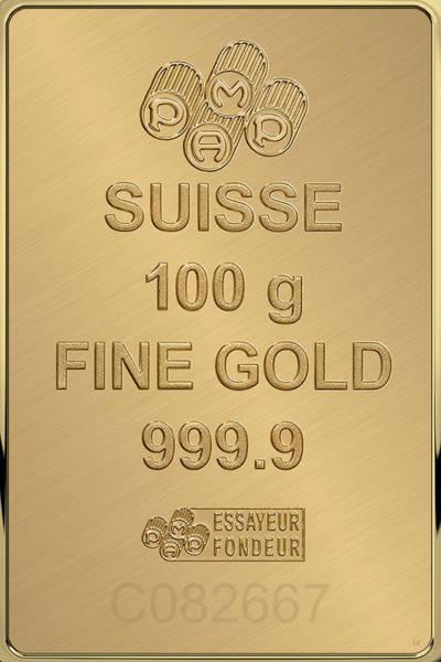 Digital Art - Fortuna Suisse Minted Gold Bar - Reverse by Serge Averbukh