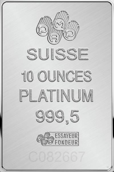 Digital Art - Fortuna Suisse Minted Platinum Bar - Reverse by Serge Averbukh