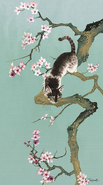 Wall Art - Digital Art - Fortune Cat In Cherry Tree by M Spadecaller
