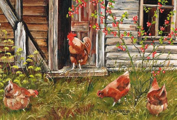 Painting - Fossicking Fowls by Val Stokes