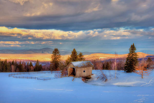 Photograph - Foster Covered Bridge In Winter - Cabot, Vermont by Joann Vitali